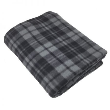 Check Grey Polar Fleece Blankets 120x150cm