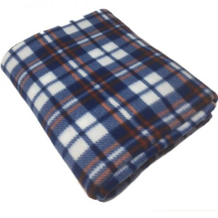 Check Blue Polar Fleece Blankets 120x150cm