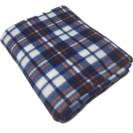 Check Blue Polar Fleece Blankets 120x150cm