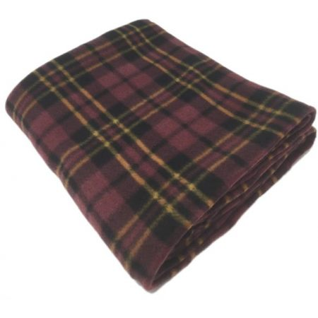 Check Brown Polar Fleece Blankets 120x150cm